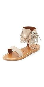 Salambo Fringe Cuff Sandals                K. Jacques