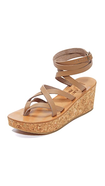 K. Jacques Tautavel Wedge Sandals - Pul Taupe