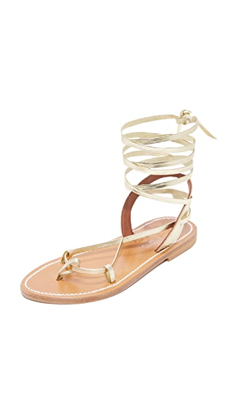 K. Jacques Lucile Wrap Sandals - Lame Platine