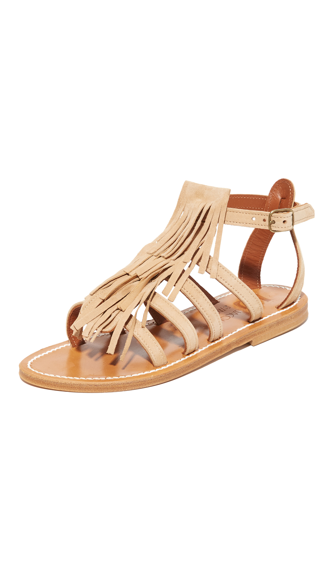 K. Jacques Fregate Fringe Sandals - Velours Sultan