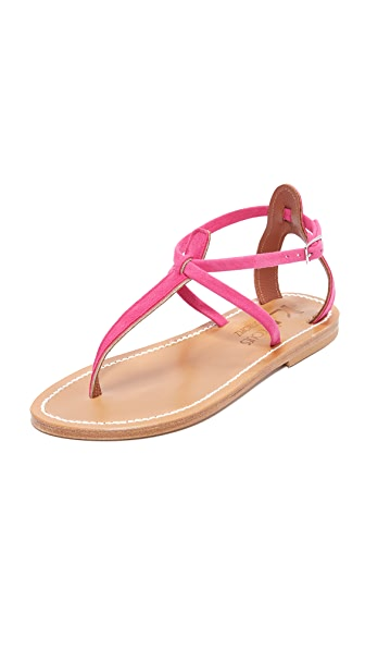 K. Jacques Buffon Thong Sandals In Velours Framboise