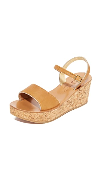 K. Jacques Josy Wedge Sandals In Pul Natural
