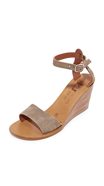 K. Jacques Sardaigne Wedges In Velours Fango