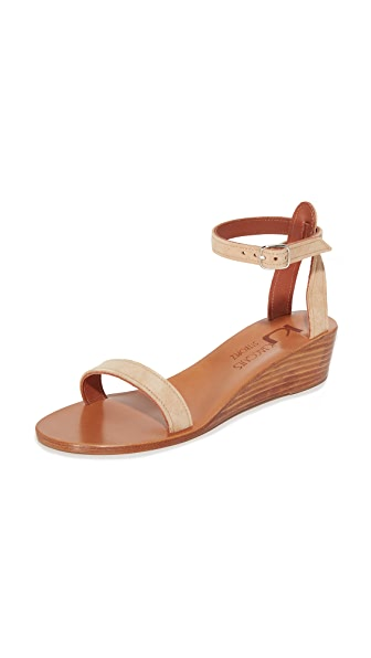 K. Jacques Madison Wedge Sandals - Velours Sultan