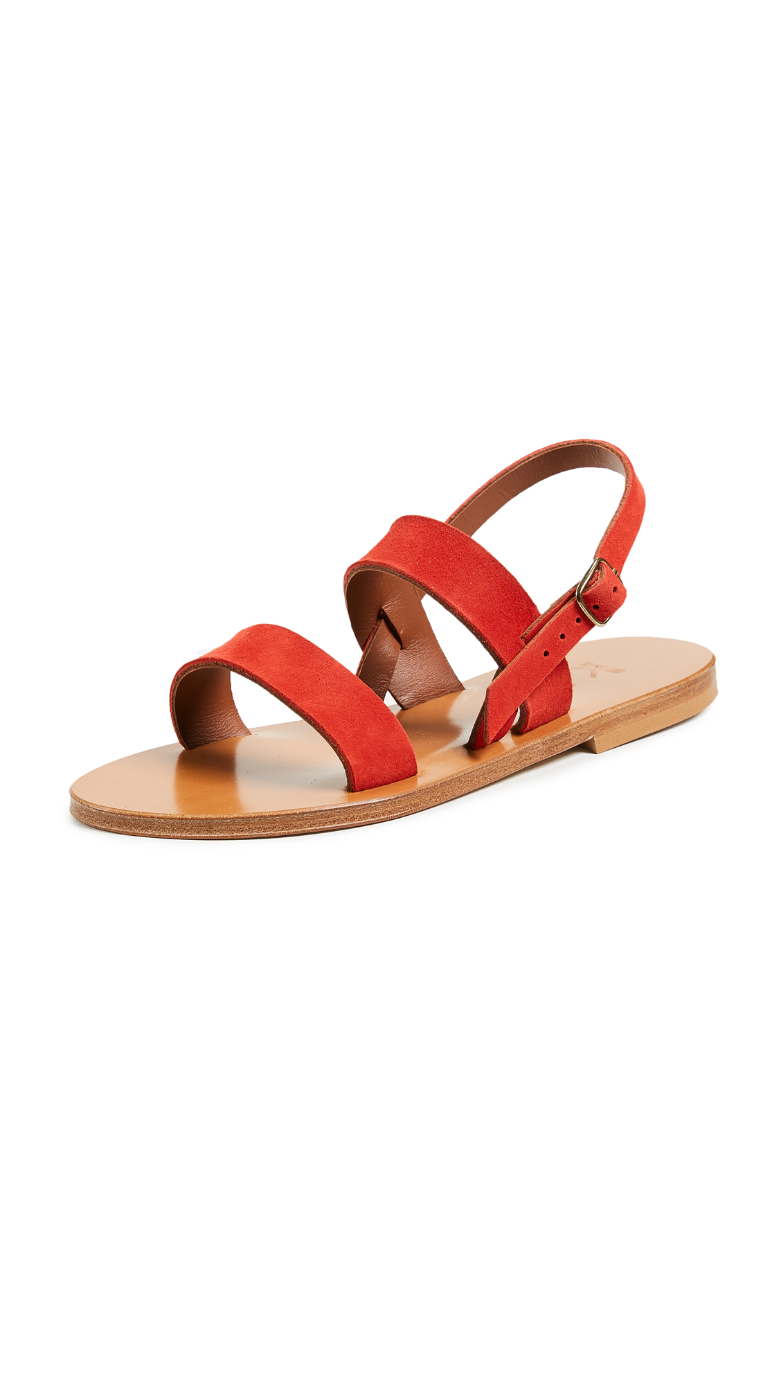 K. Jacques Iroko Sandals - Velours Vermilion