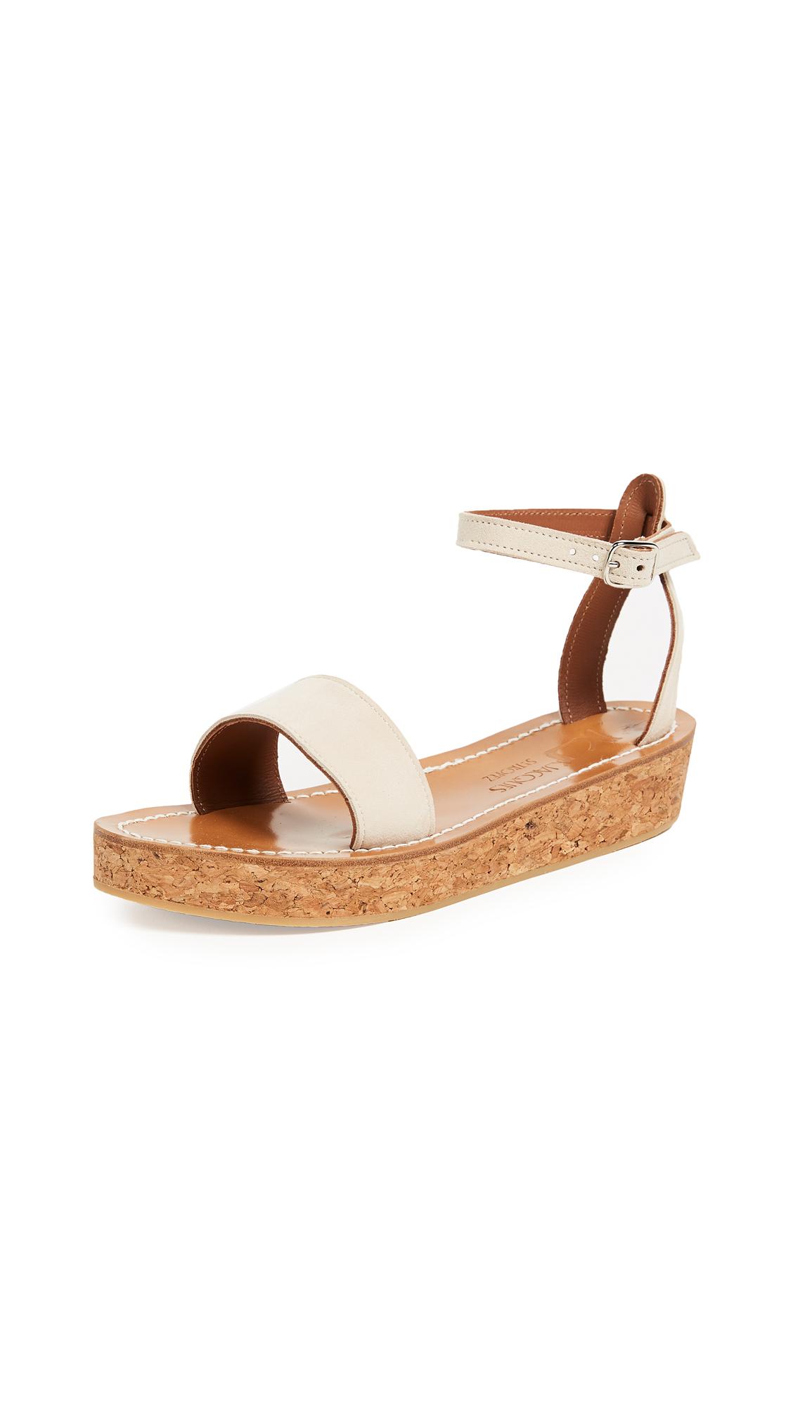 K. Jacques Talloire Flatform Sandals - Velours Ecru