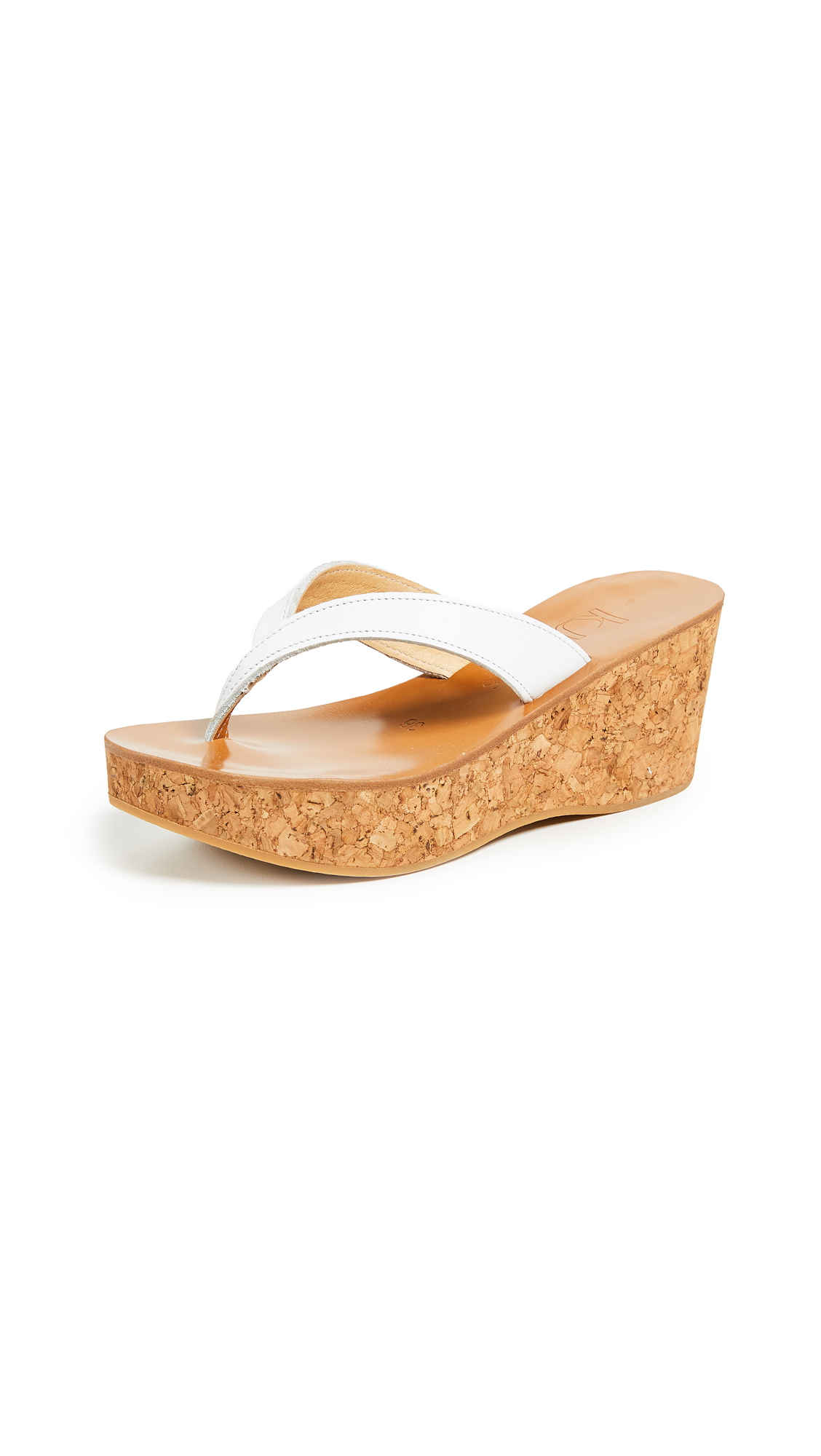 K. Jacques Diorite Thong Wedges - Pul Blanc