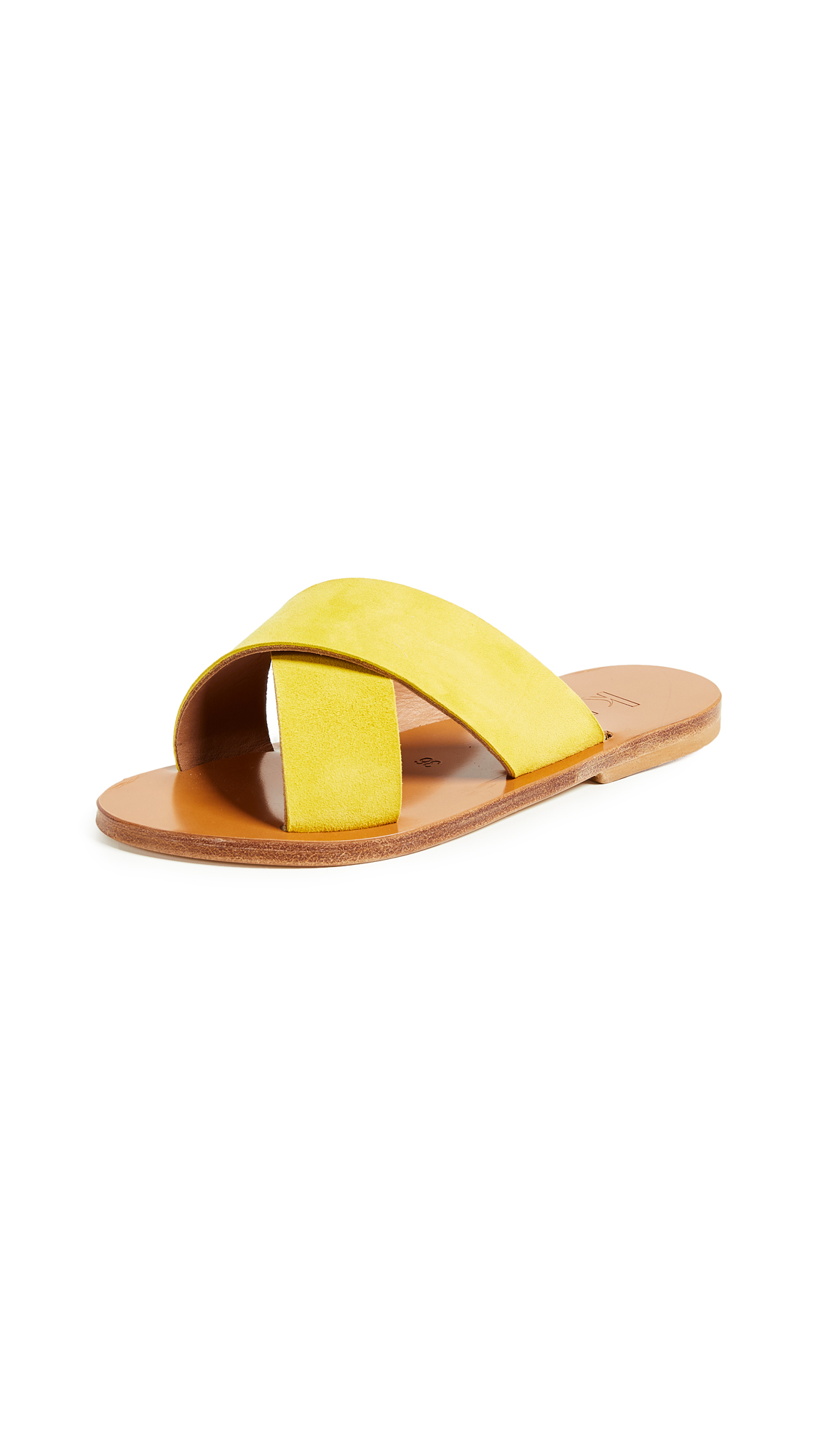 K. Jacques Tobago Crisscross Slides - Velours Amarillo