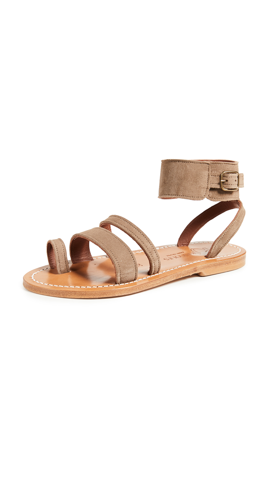 K. Jacques Ares Toe Ring Slide Sandals - Velours Fango