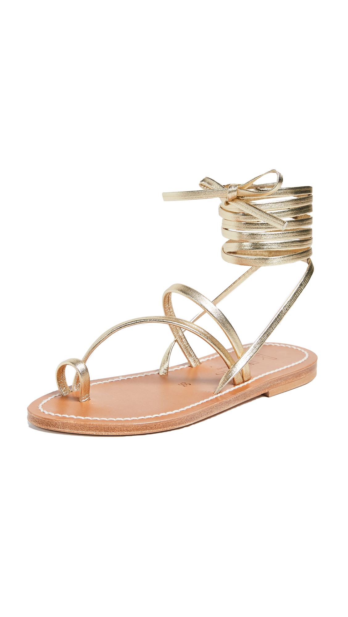 K. Jacques Ellada Wrap Sandals - Lame Platine