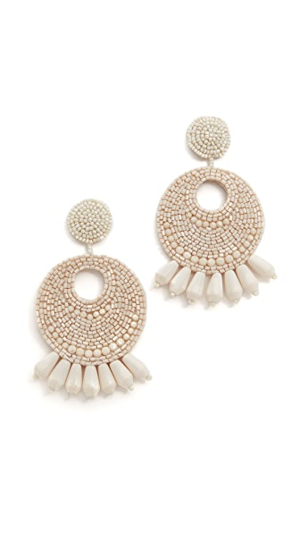 Kenneth Jay Lane Ivory Seed Bead Hoop Earrings - Ivory