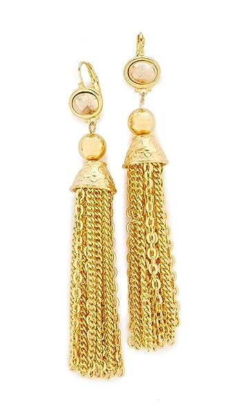 Kenneth Jay Lane Chain Tassel Earrings - Gold