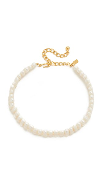 Kenneth Jay Lane Imitation Pearl Choker Necklace