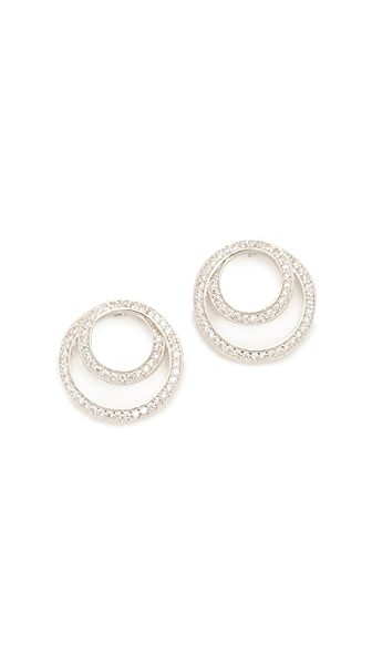 Kenneth Jay Lane Coiled Infinity Pave Earrings In Silver/Clear