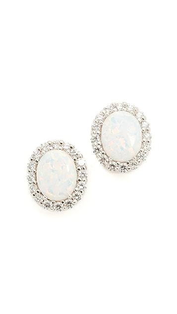 Kenneth Jay Lane Oval Opal Stud Earrings