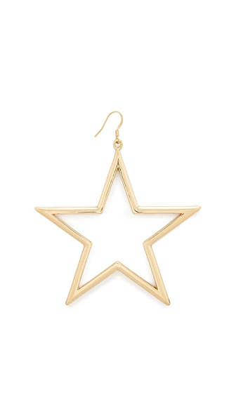 Kenneth Jay Lane Single Open Star Fishhook Earring - Gold
