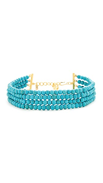 Kenneth Jay Lane Bead Dog Collar Necklace - Turquoise