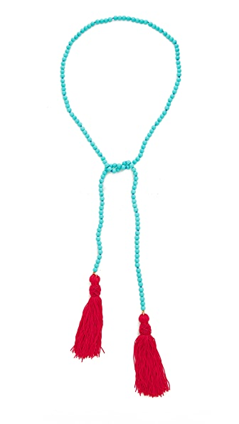 Kenneth Jay Lane Beaded Tassel Necklace - Turquoise