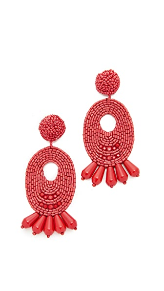 Kenneth Jay Lane Beaded Oval Drop Earrings - Dark Coral