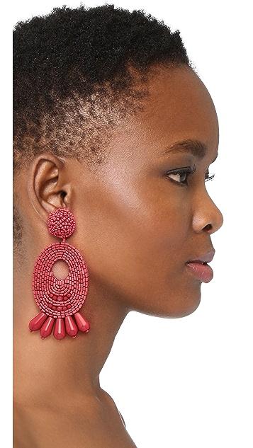 Kenneth Jay Lane Beaded Oval Drop Earrings