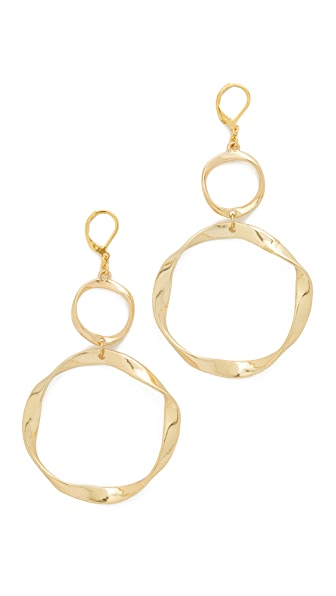 Kenneth Jay Lane Twisted Circle Earrings - Satin Gold