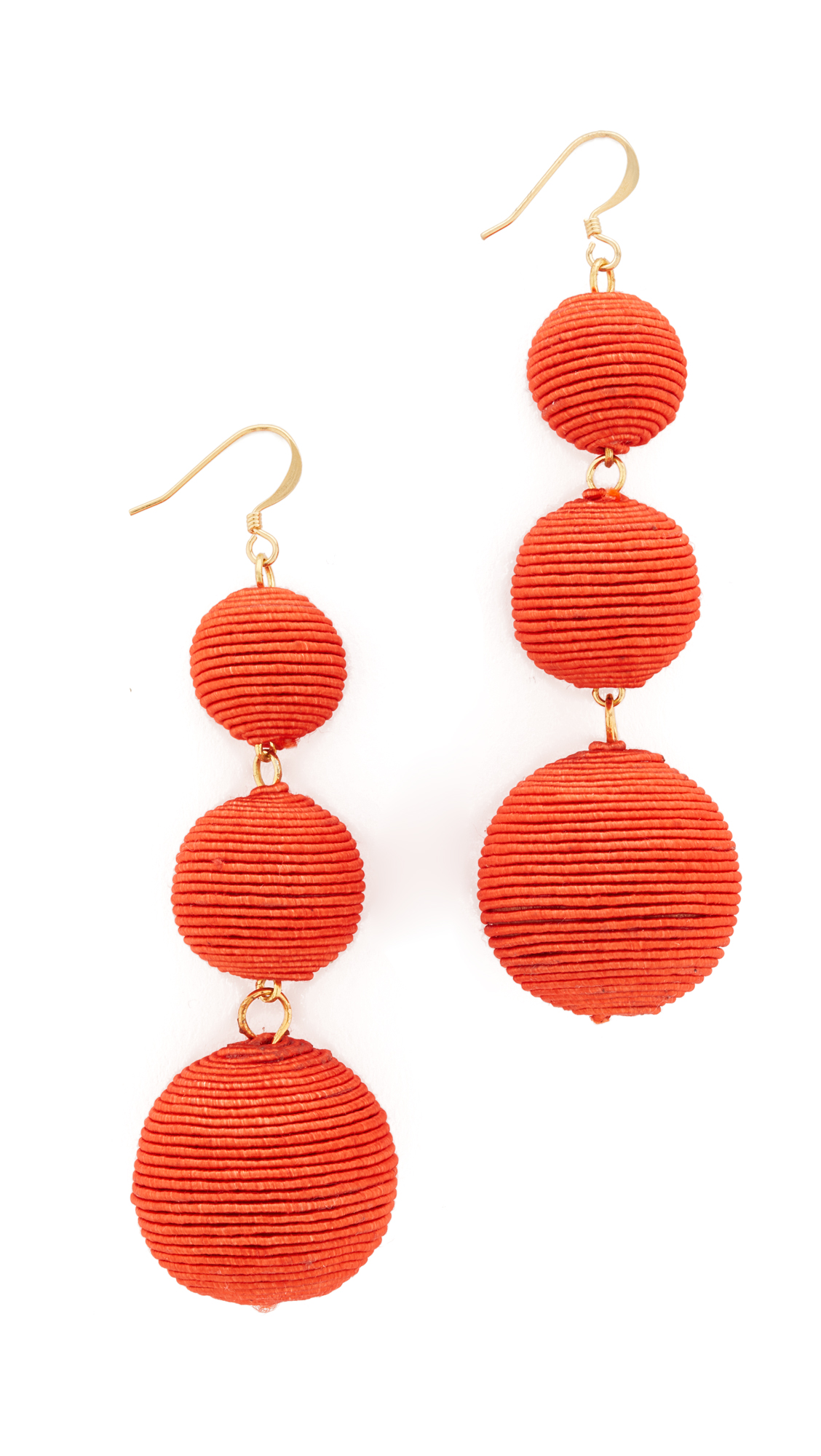Kenneth Jay Lane Triple Tier Drop Earrings - Coral