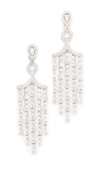 Kenneth Jay Lane Pear Fringe Earrings - Clear