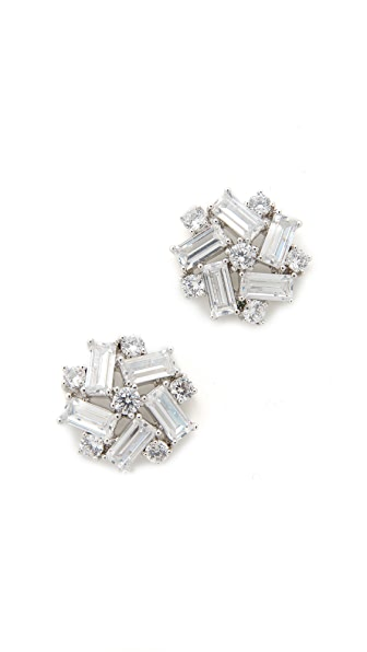 Kenneth Jay Lane Crystal Button Earrings In Clear