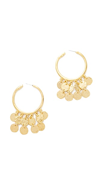 Kenneth Jay Lane Coins Hoop Earrings
