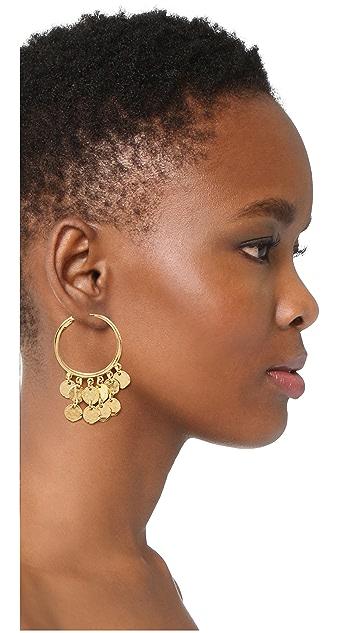 Kenneth Jay Lane Coins Hoop Earrings