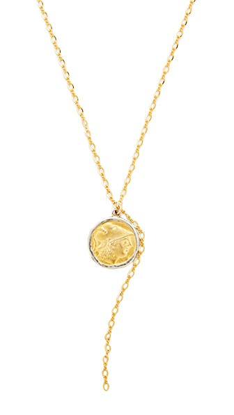 Kenneth Jay Lane Coin Chain Lariat Necklace - Gold/Silver