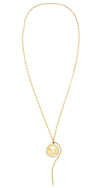Kenneth Jay Lane Coin Chain Lariat Necklace