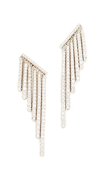 Kenneth Jay Lane Round CZ Pave Fringe Ear Crawlers - Silver