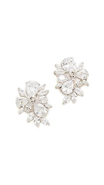 Kenneth Jay Lane Pear & Marquis Cluster Stud Earrings In Silver