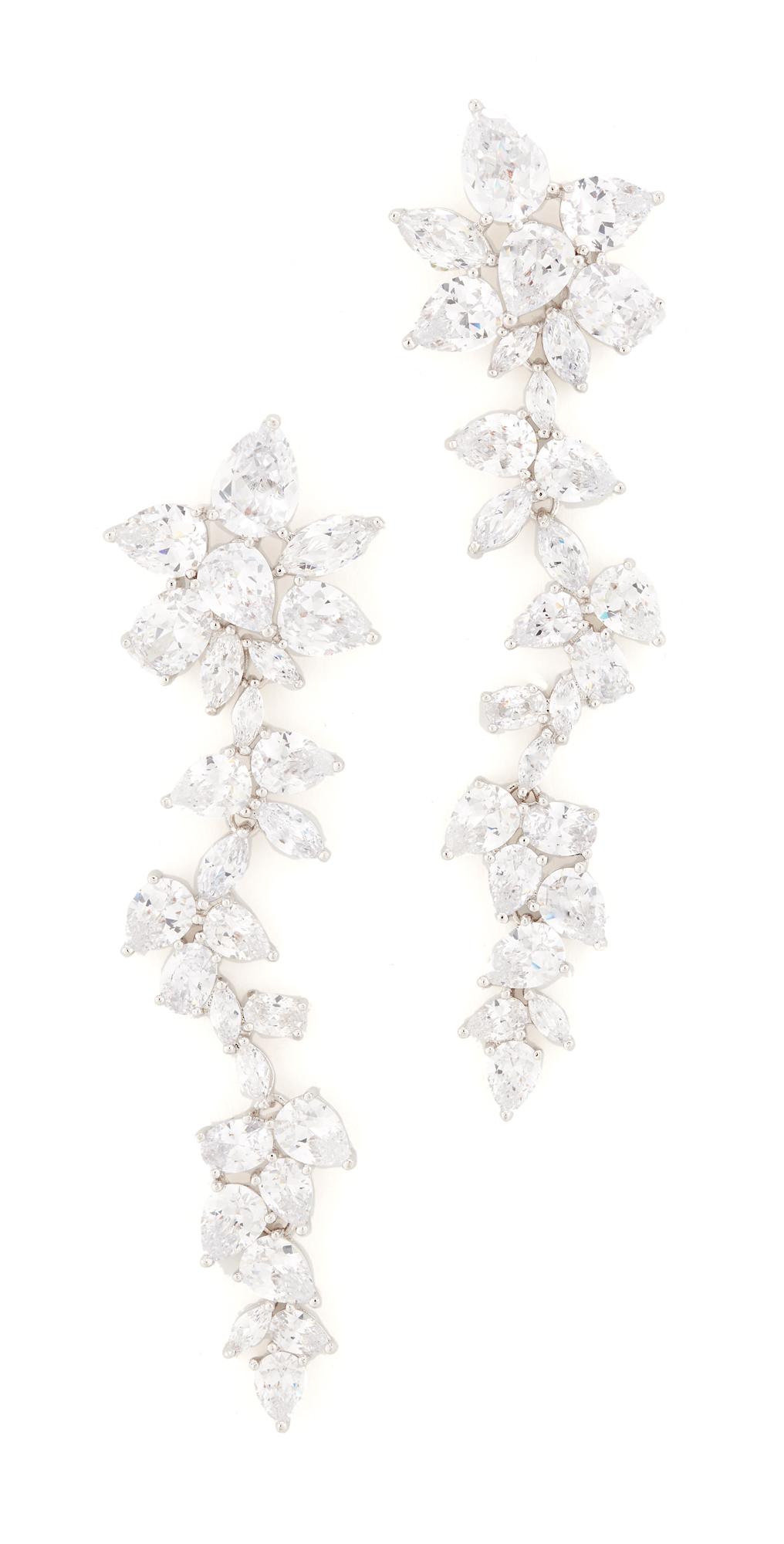 Multi CZ Dangling Flower Earrings Kenneth Jay Lane