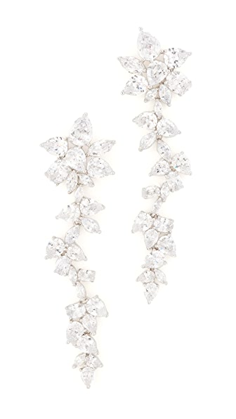 Kenneth Jay Lane Multi CZ Dangling Flower Earrings In Silver