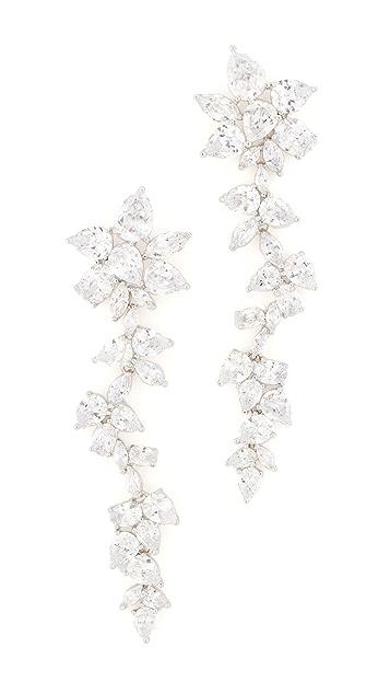 Kenneth Jay Lane Multi CZ Dangling Flower Earrings