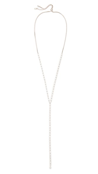Kenneth Jay Lane Pear Shape Y Necklace - Silver