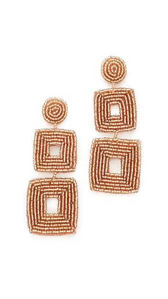 Kenneth Jay Lane Champagne Square Earrings - Champagne
