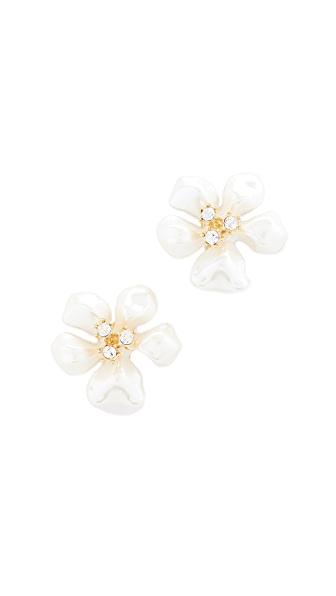 Kenneth Jay Lane Imitation Pearl Flower Earrings