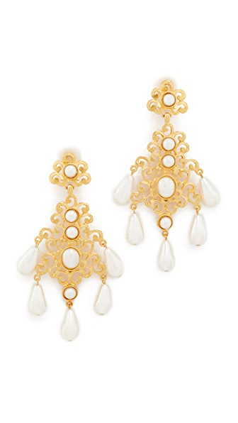 Kenneth Jay Lane Imitation Pearl Clip On Earrings - Gold/Pearl