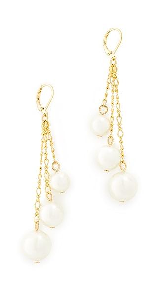 Kenneth Jay Lane Imitation Pearl Chain Drop Earrings In White Pearl