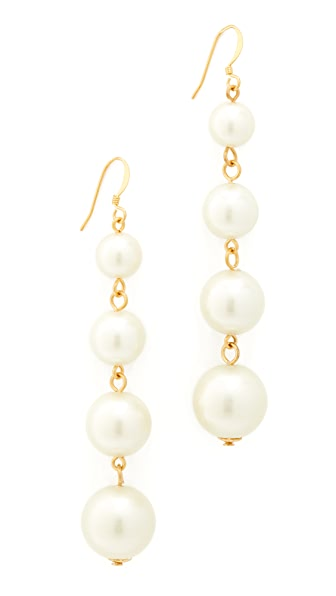Kenneth Jay Lane Imitation Pearl Drop Earrings - Gold/Pearl