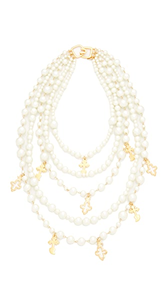 Kenneth Jay Lane Imitation Pearl with Charms Necklace - Pearl/Gold
