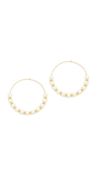 Kenneth Jay Lane Hoop with Imitation Pearls Earrings - Pearl