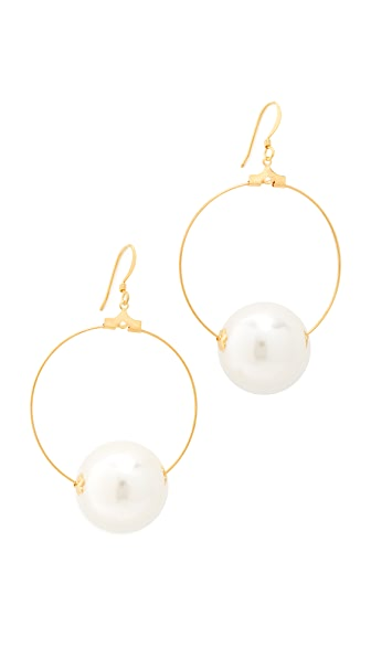 Kenneth Jay Lane Hoop Earrings with Imitation Pearl In Gold/Pearl