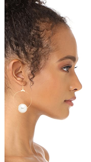 Kenneth Jay Lane Hoop Earrings with Imitation Pearl