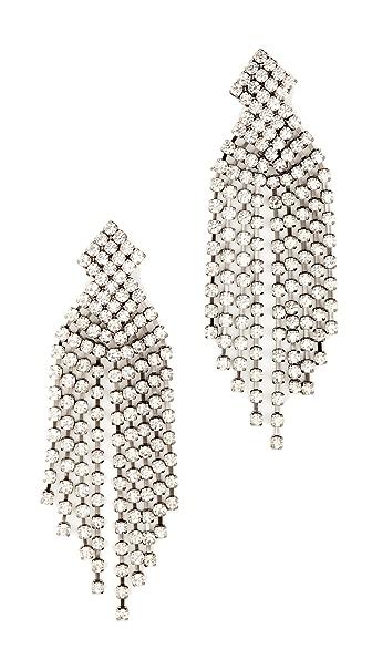 Kenneth Jay Lane Gunmetal Waterfall Earrings In Gunmetal/Crystal
