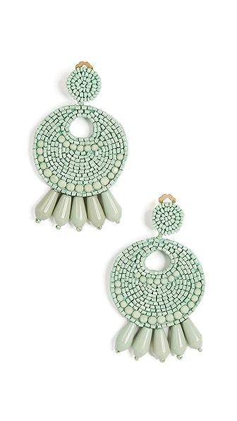 Kenneth Jay Lane Round Gypsy Hoop Earrings In Mint Green