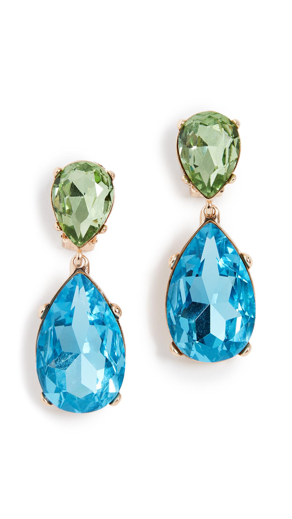 Kenneth Jay Lane Double Teardrop Clip On Earrings In Gold/Peridot/Aqua